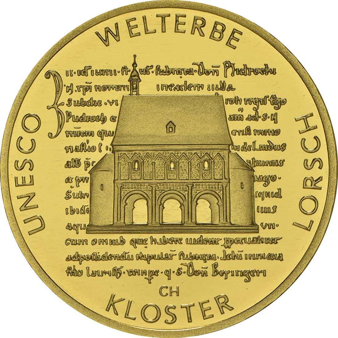 Vorderseite :Deutschland : 100 Euro Kloster Lorsch 1250. Gründungsjubiläum Buchstabe unserer Wahl  2014 Stgl.