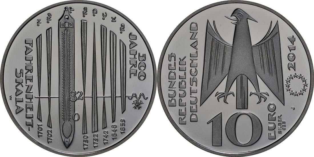 Deutschland 10 Euro 300 Jahre Fahrenheit Skala 2014 Pp