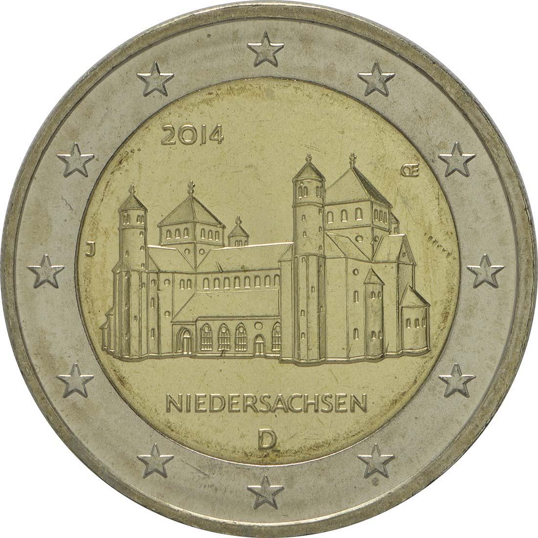 Rückseite :Deutschland : 2 Euro Niedersachsen - Michaeliskirche Hildesheim Buchstabe unserer Wahl  2014 bfr