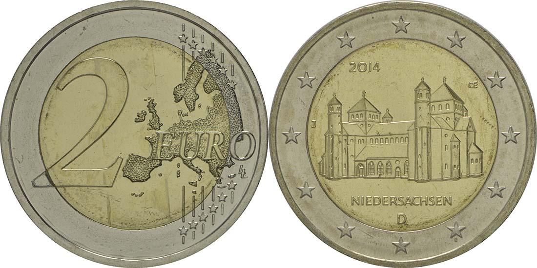 Deutschland : 2 Euro Niedersachsen - Michaeliskirche Hildesheim Buchstabe unserer Wahl  2014 bfr