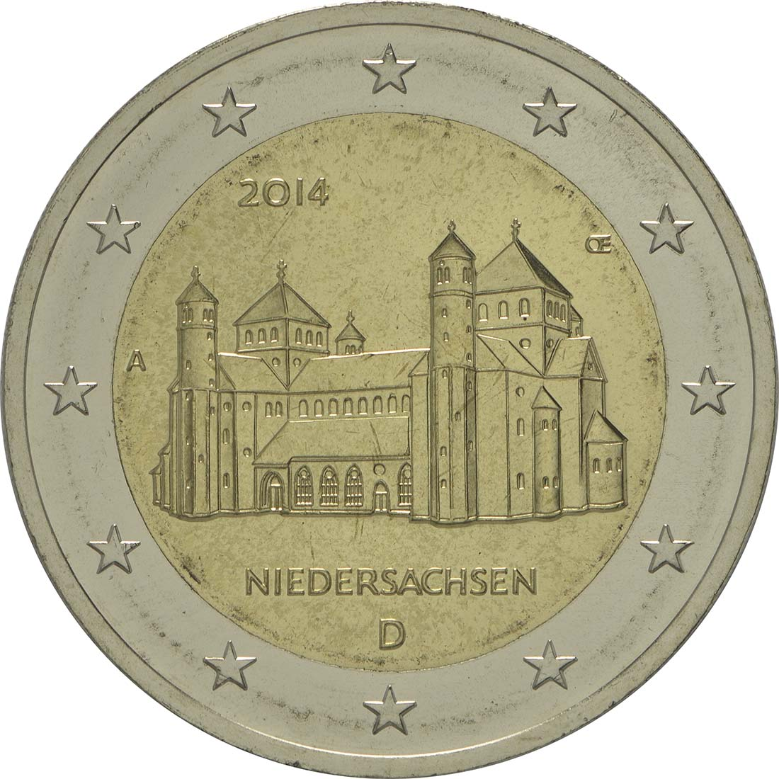 Bild der Rückseite :Deutschland - 2 Euro Niedersachsen - Michaeliskirche Hildesheim  2014 Stgl.