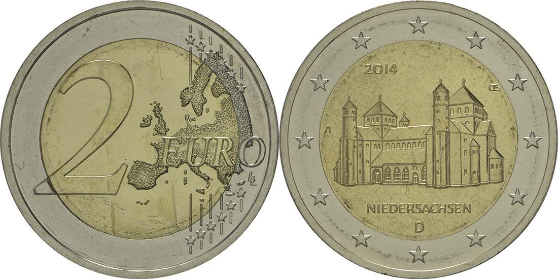Bild des Lieferumfangs :Deutschland - 2 Euro Niedersachsen - Michaeliskirche Hildesheim  2014 Stgl.