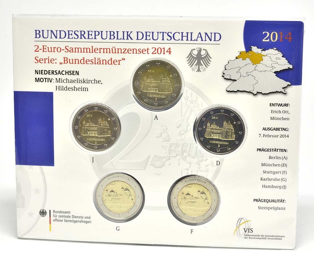 Übersicht:Deutschland : 2 Euro Niedersachsen - Michaeliskirche Hildesheim Komplettsatz 5x2 Euro  2014 Stgl.