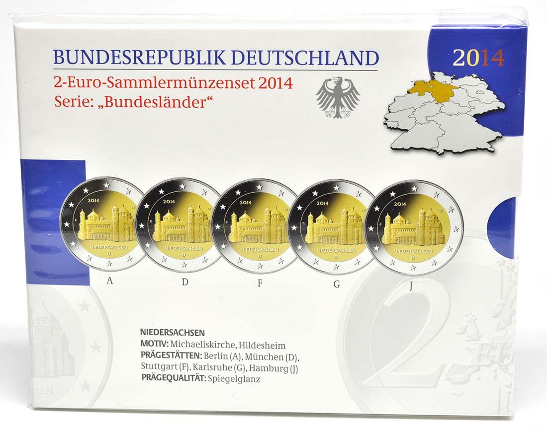 Deutschland : 2 Euro Niedersachsen - Michaeliskirche Hildesheim 5x2 Euro im Set  2014 PP