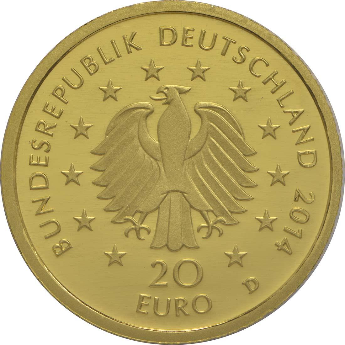 Rückseite :Deutschland : 20 Euro Kastanie  2014 Stgl.