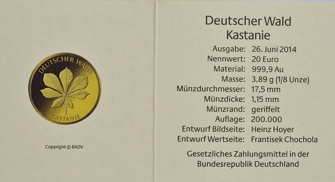 Zertifikat:Deutschland : 20 Euro Kastanie Komplettsatz ADFGJ  2014 Stgl.