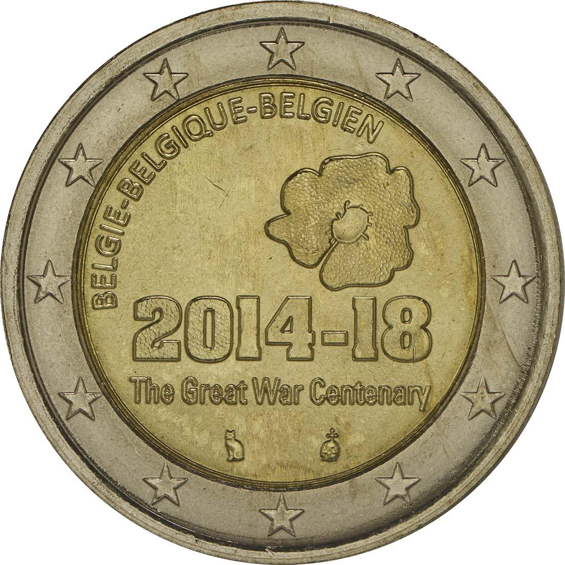 Rückseite :Belgien : 2 Euro 100. Jahrestag des Beginns des 1. Weltkrieges  2014 bfr