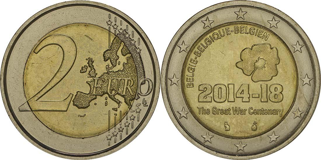 Belgien : 2 Euro 100. Jahrestag des Beginns des 1. Weltkrieges  2014 bfr