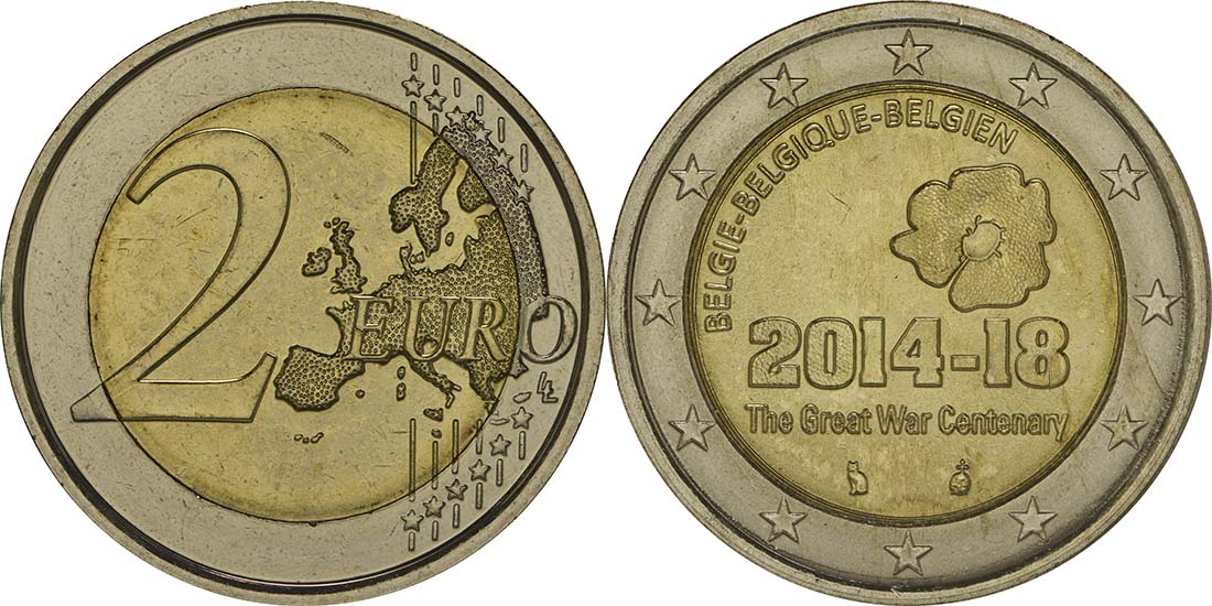 Lieferumfang:Belgien : 2 Euro 100. Jahrestag des Beginns des 1. Weltkrieges  2014 bfr
