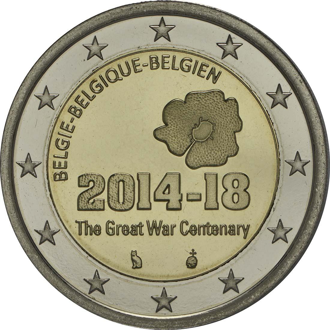 Rückseite :Belgien : 2 Euro 100. Jahrestag des Beginns des 1. Weltkrieges  2014 PP