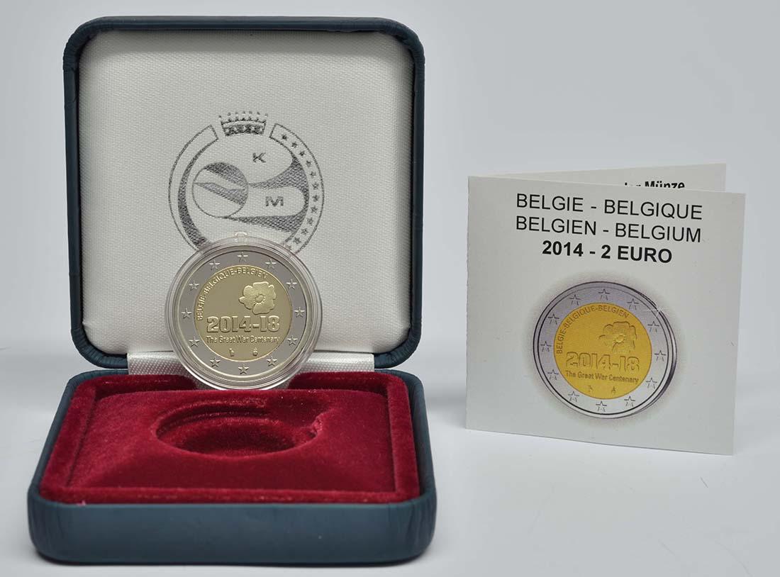 Belgien : 2 Euro 100. Jahrestag des Beginns des 1. Weltkrieges  2014 PP