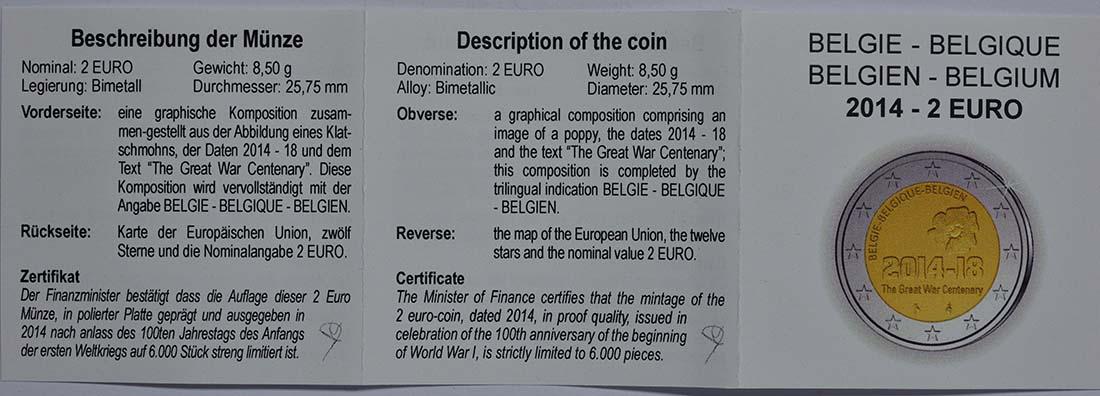 Zertifikat:Belgien : 2 Euro 100. Jahrestag des Beginns des 1. Weltkrieges  2014 PP