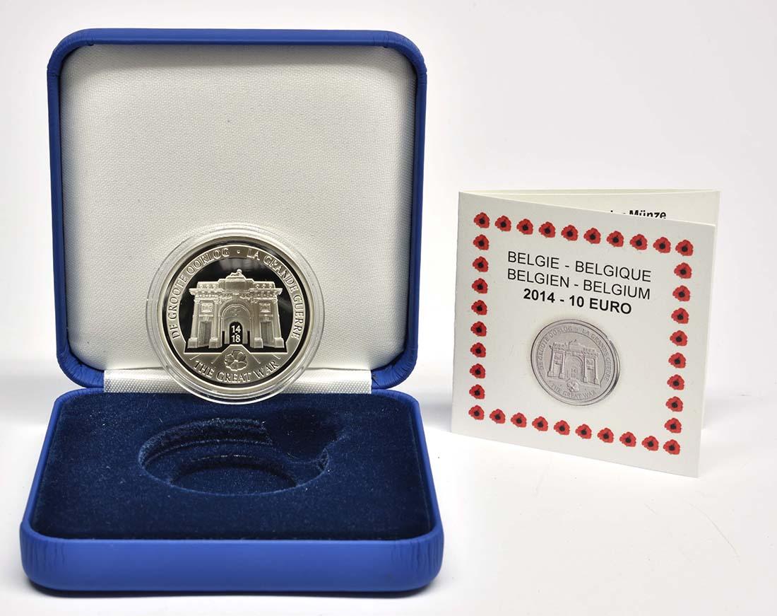 Lieferumfang:Belgien : 10 Euro 100. Jahrestag des Beginns des 1. Weltkrieges  2014 PP