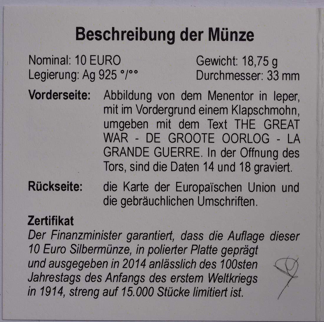 Zertifikat:Belgien : 10 Euro 100. Jahrestag des Beginns des 1. Weltkrieges  2014 PP