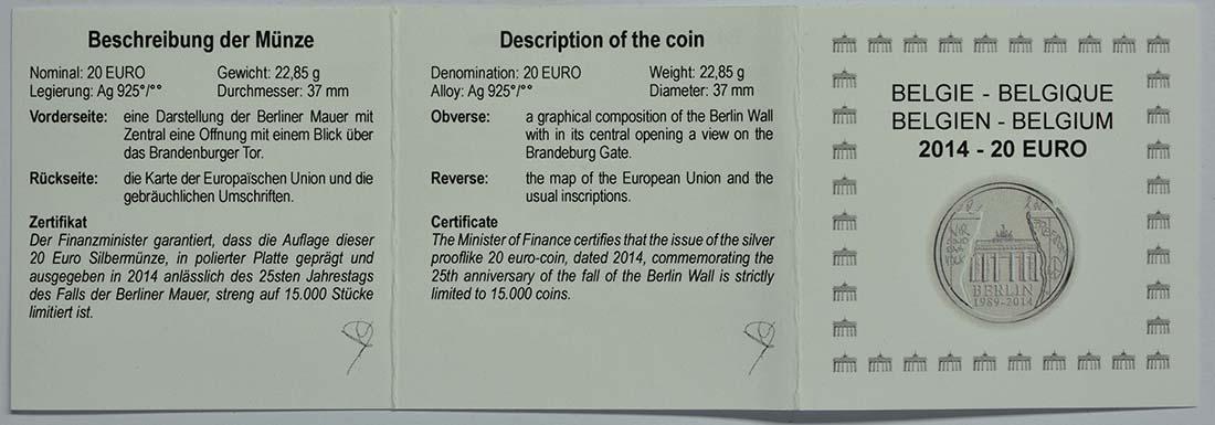 Zertifikat:Belgien : 20 Euro 25 Jahre Fall der Berliner Mauer  2014 PP