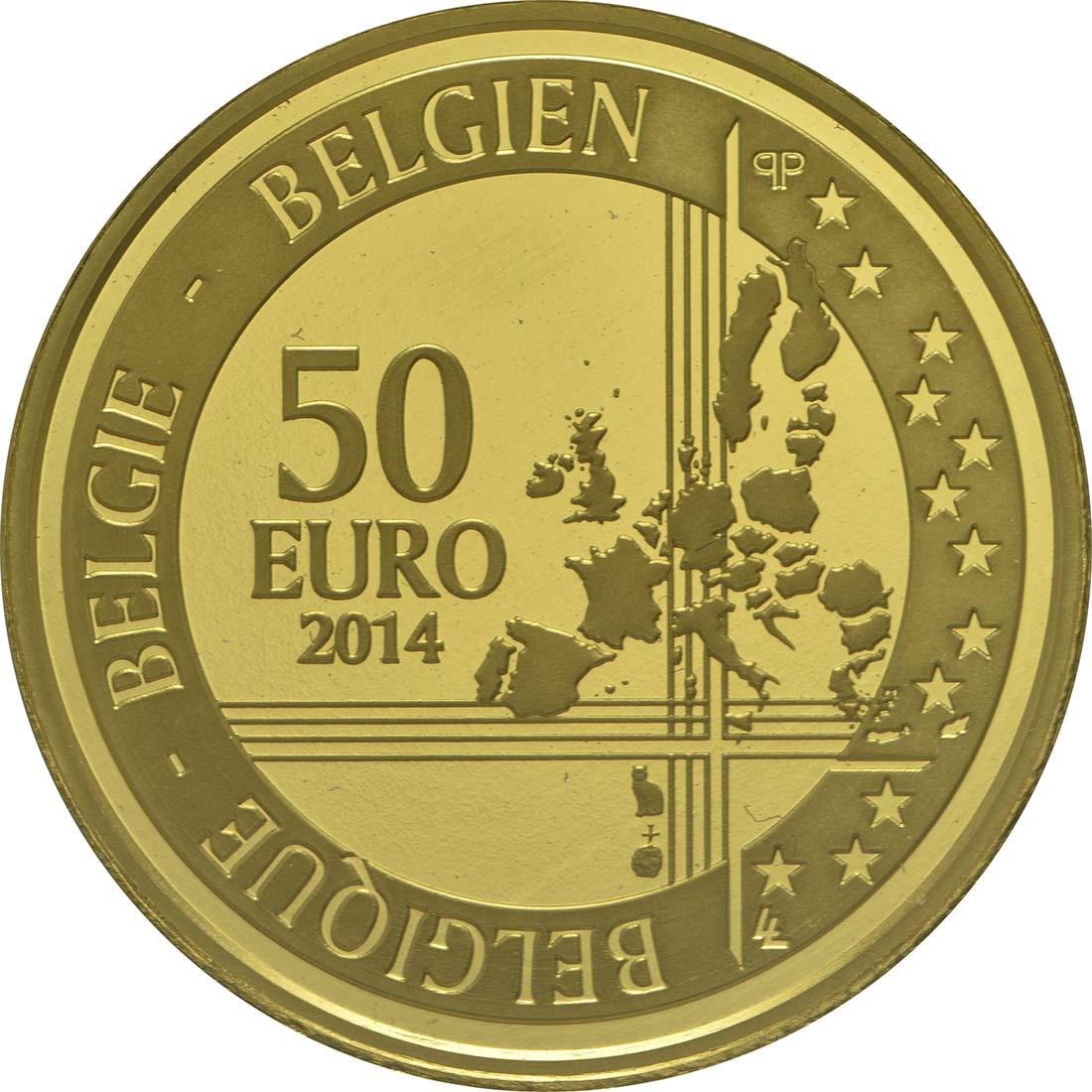 Rückseite:Belgien : 50 Euro 200. Geburtstag von Adolphe Sax  2014 PP