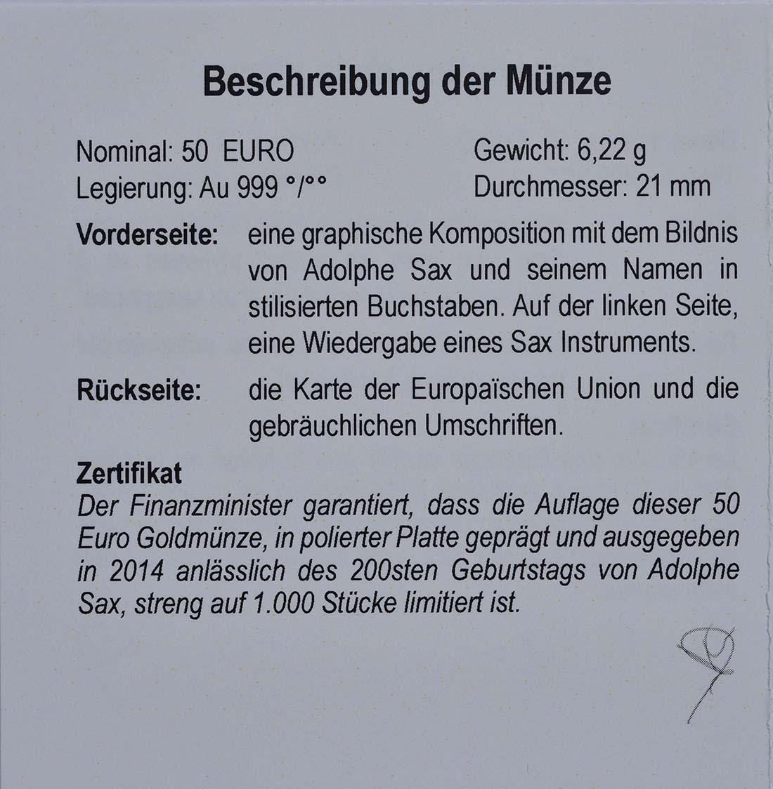 Zertifikat:Belgien : 50 Euro 200. Geburtstag von Adolphe Sax  2014 PP