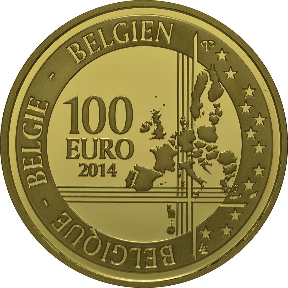 Rückseite:Belgien : 100 Euro 500. Geburtstag von Andreas Vesalius  2014 PP