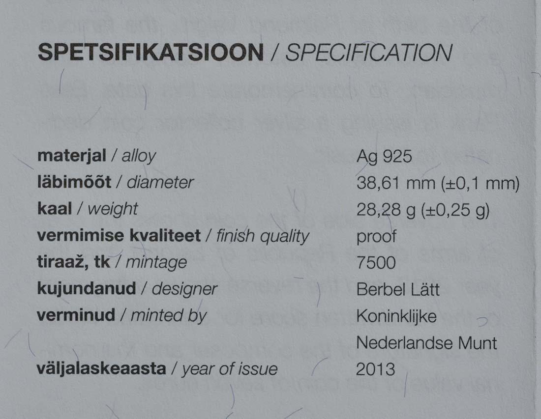 Zertifikat:Estland : 7 Euro Raimond Valgre  2013 PP