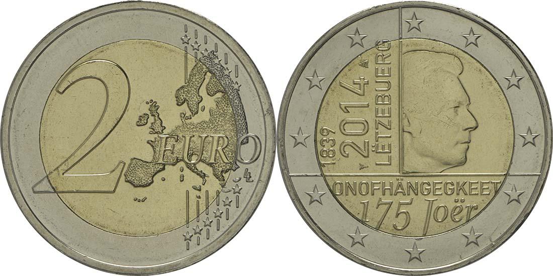 Luxemburg : 2 Euro 175 Jahre Unabhängigkeit Luxemburgs  2014 bfr