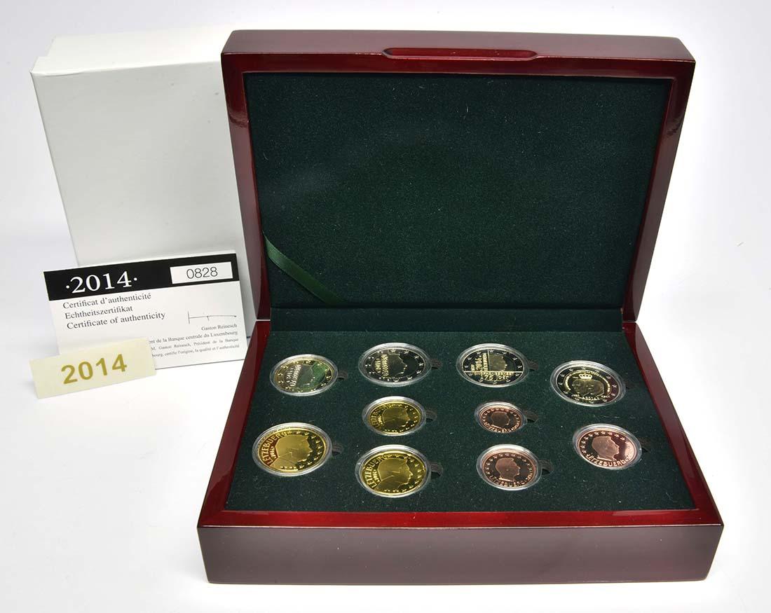 Lieferumfang:Luxemburg : 7,88 Euro KMS Luxemburg mit beiden Gedenkmünzen 2014  2014 PP
