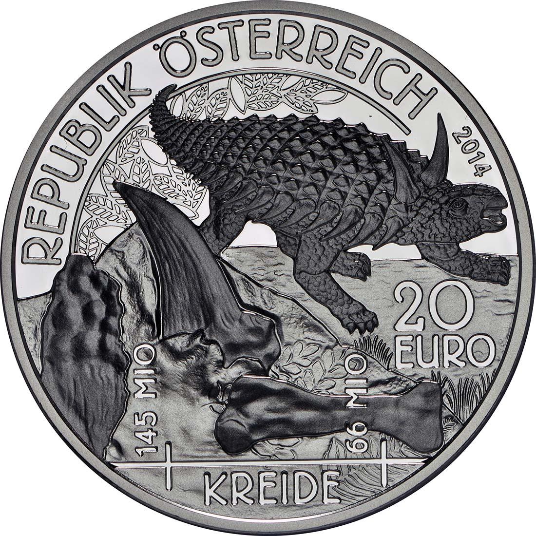 Vorderseite :Österreich : 20 Euro Kreide - Leben auf der Erde  2014 PP