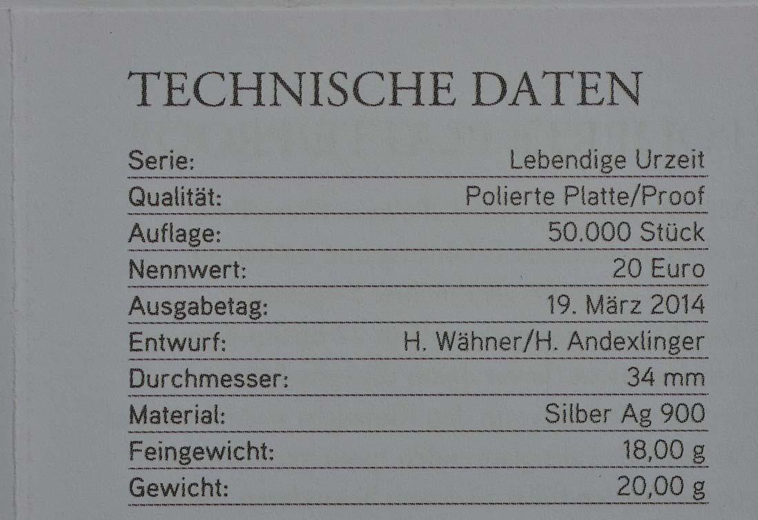 Zertifikat :Österreich : 20 Euro Kreide - Leben auf der Erde  2014 PP