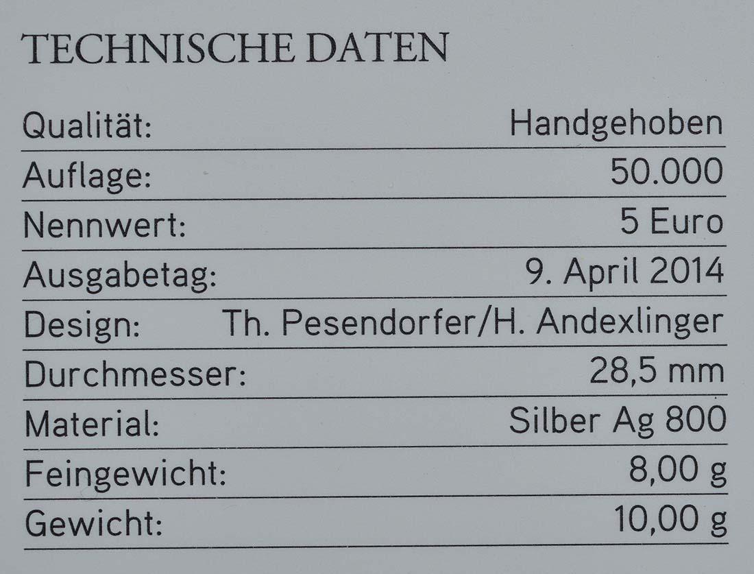 Zertifikat:Österreich : 5 Euro Abenteuer Arktis  2014 Stgl.