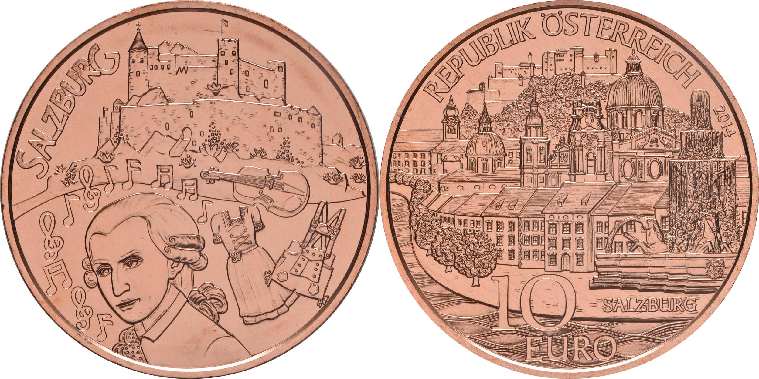 Lieferumfang:Österreich : 10 Euro Salzburg  2014 Stgl.