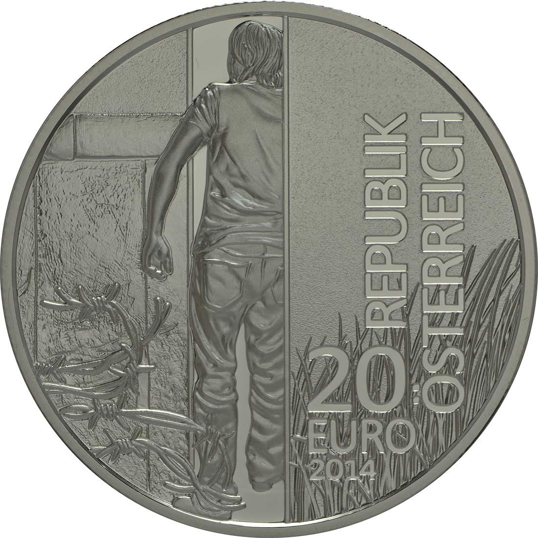 Rückseite:Österreich : 20 Euro 25 Jahre Fall des Eisernen Vorhangs  2014 PP