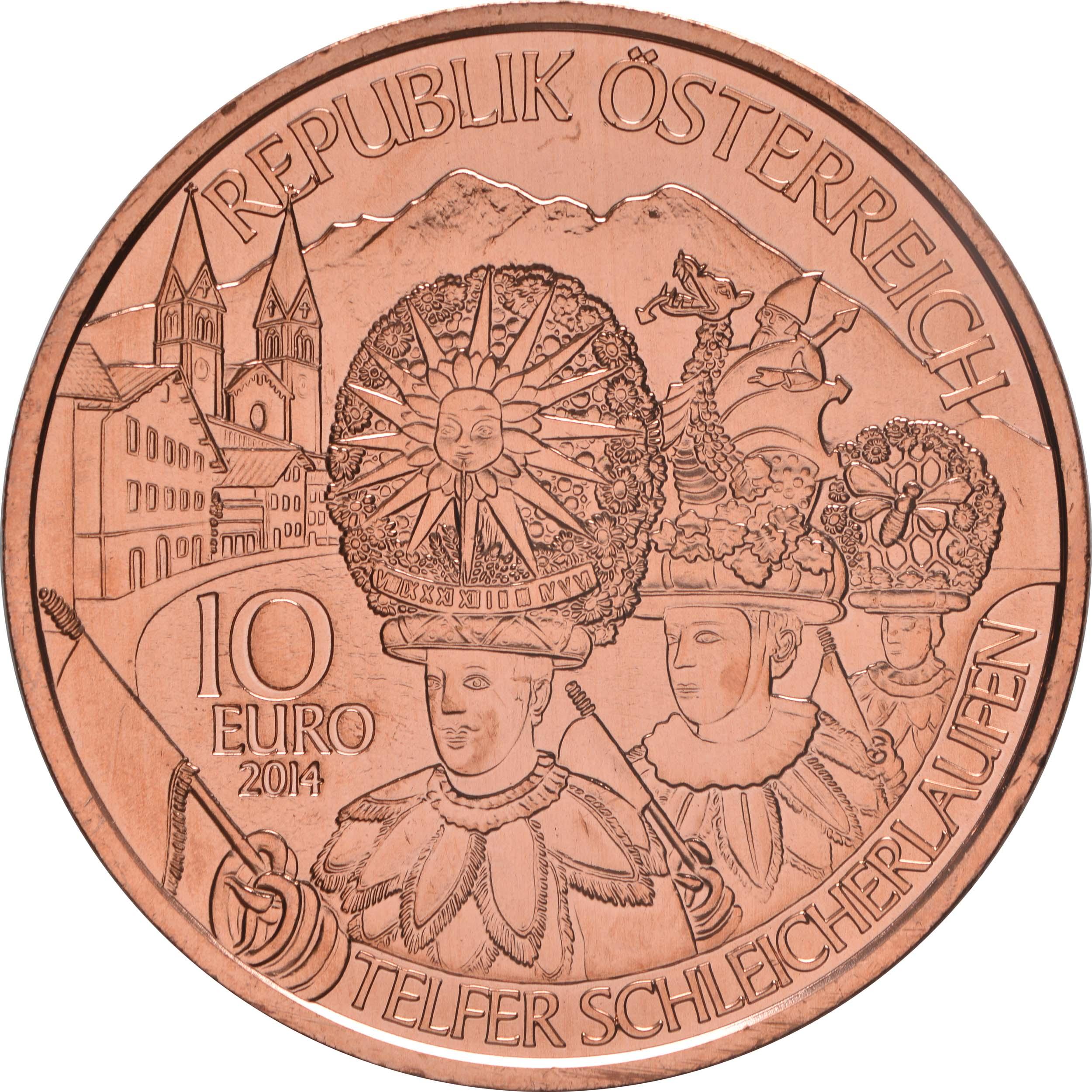 Rückseite:Österreich : 10 Euro Tirol  2014 Stgl.