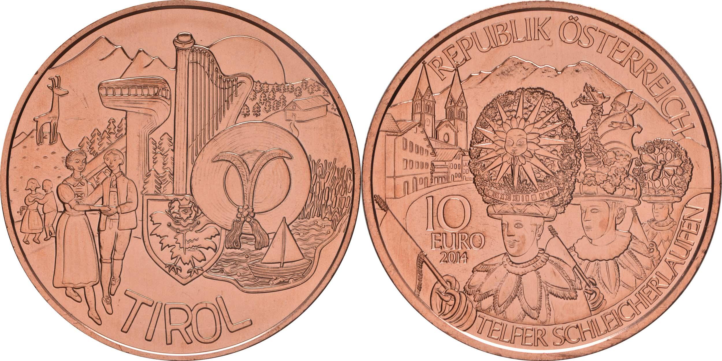 Lieferumfang:Österreich : 10 Euro Tirol  2014 Stgl.