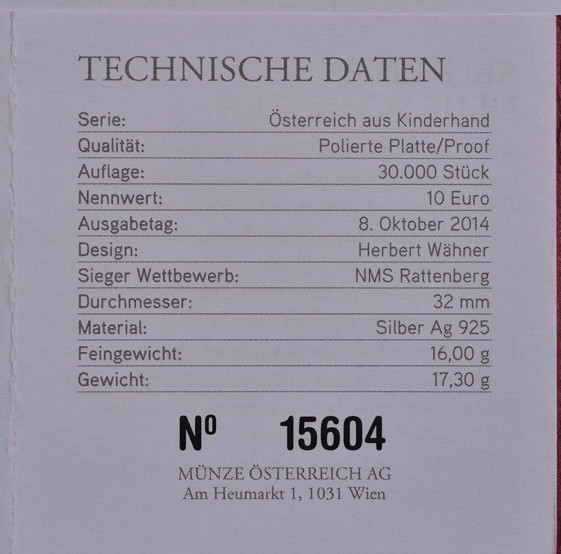 Zertifikat:Österreich : 10 Euro Tirol  2014 PP