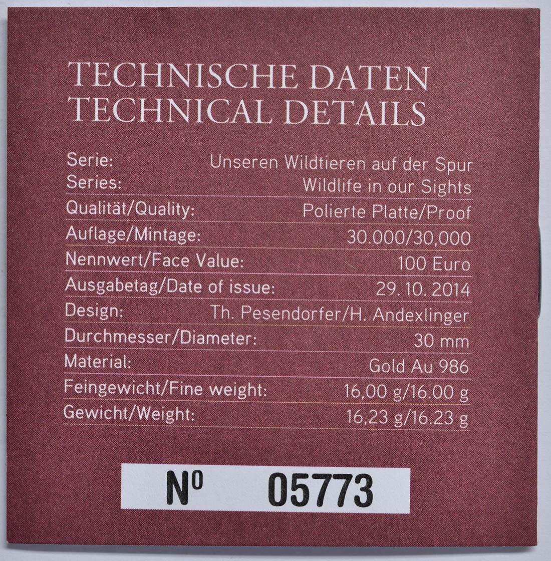 Zertifikat:Österreich : 100 Euro Wildschwein  2014 PP