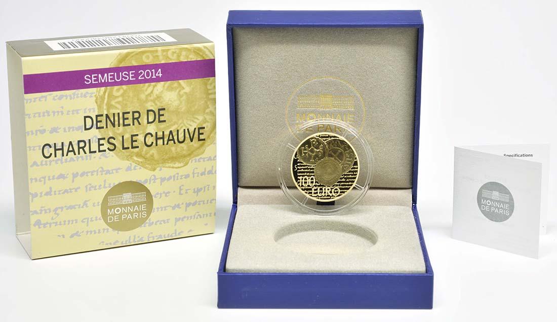Lieferumfang:Frankreich : 100 Euro Karl der Kahle  2014 PP