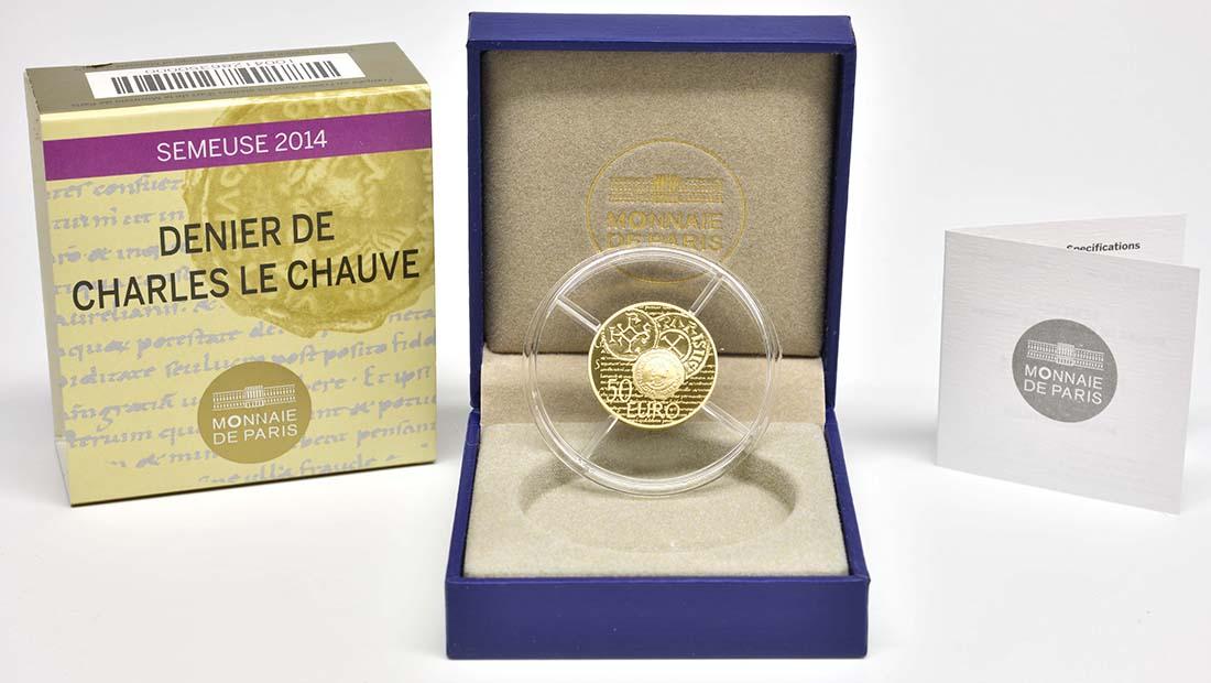 Lieferumfang:Frankreich : 50 Euro Karl der Kahle  2014 PP