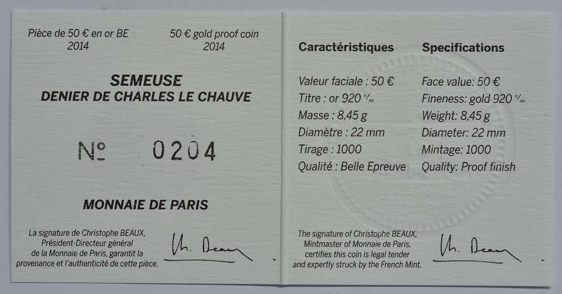 Zertifikat:Frankreich : 50 Euro Karl der Kahle  2014 PP