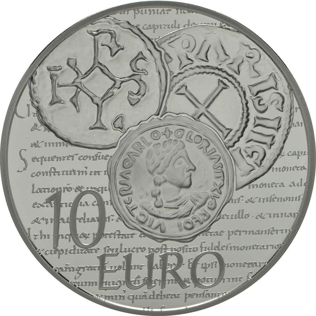 Rückseite:Frankreich : 10 Euro Karl der Kahle  2014 PP