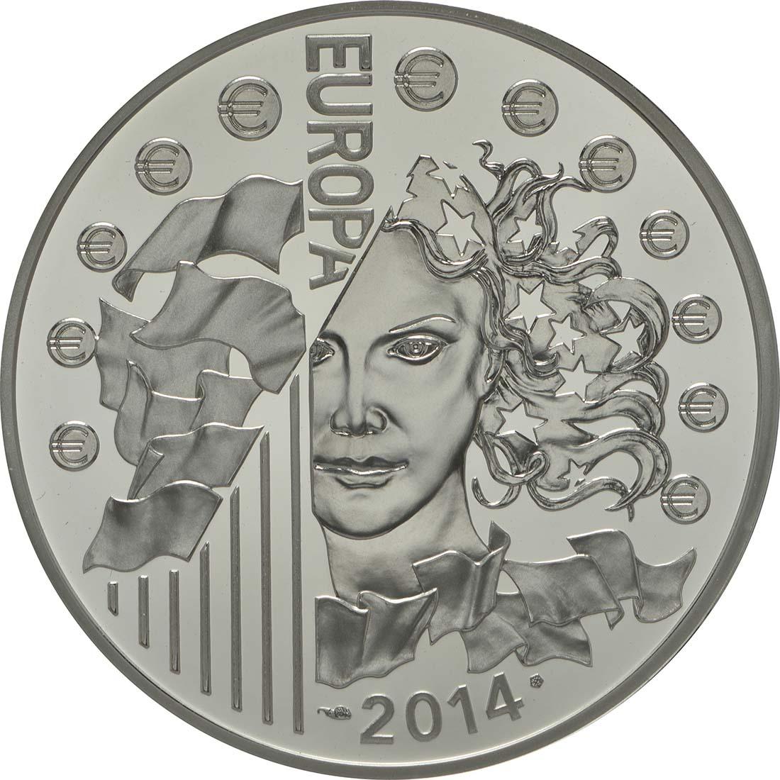 Rückseite:Frankreich : 10 Euro Europäische Weltraumorganisation ESA  2014 PP