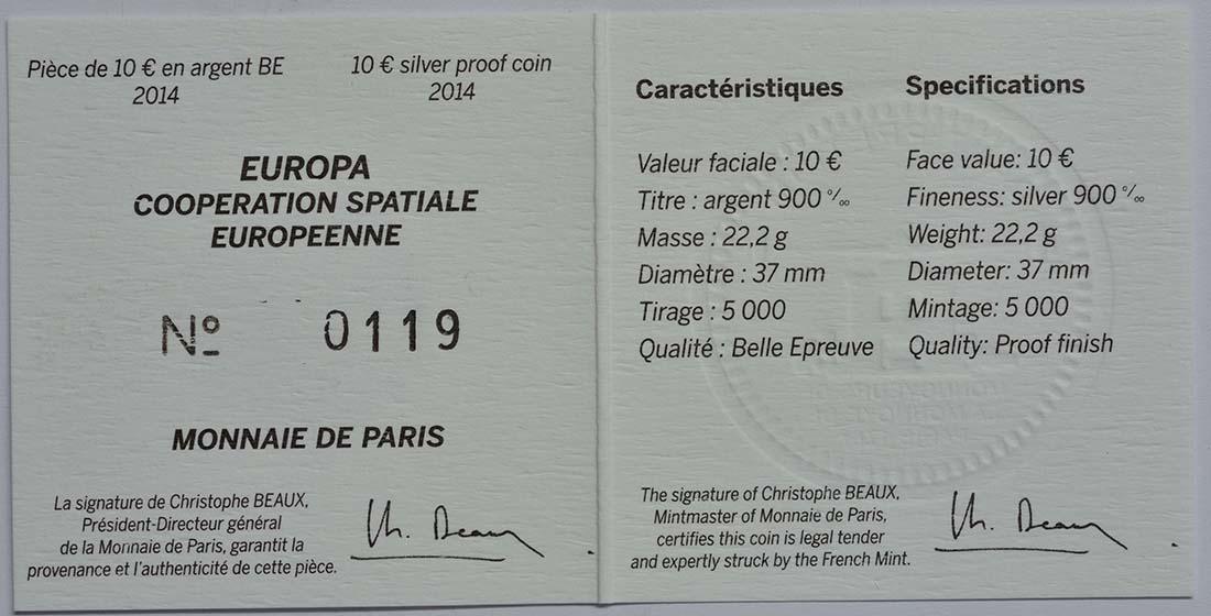 Zertifikat:Frankreich : 10 Euro Europäische Weltraumorganisation ESA  2014 PP