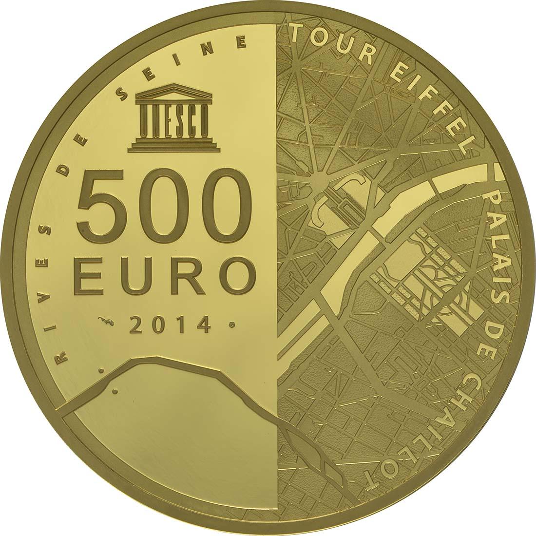 Rückseite:Frankreich : 500 Euro Ufer der Seine  2014 PP