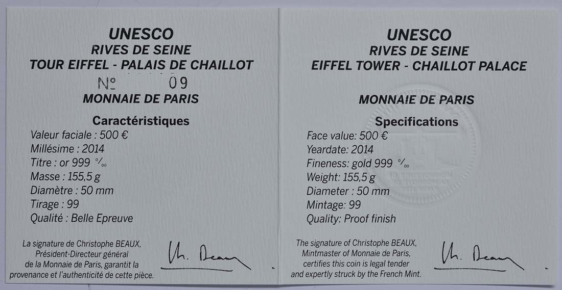 Zertifikat:Frankreich : 500 Euro Ufer der Seine  2014 PP