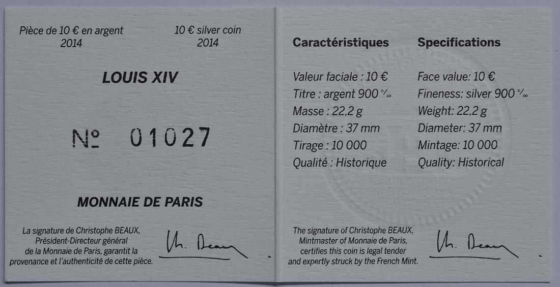 Zertifikat:Frankreich : 10 Euro Louis XIV.  2014 Stgl.