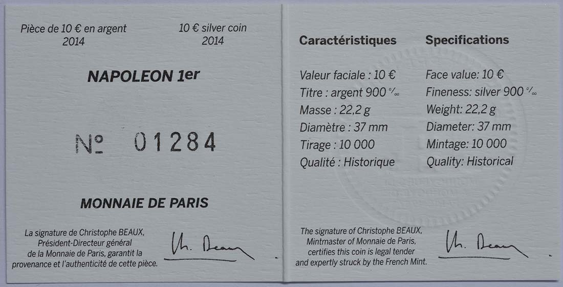 Zertifikat:Frankreich : 10 Euro Napoleon I.  2014 Stgl.