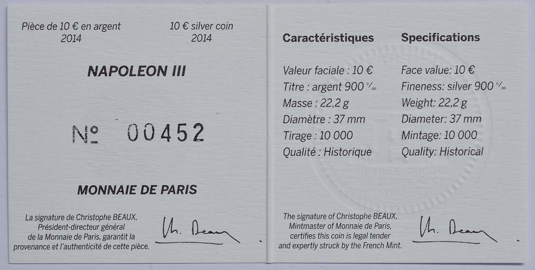 Zertifikat:Frankreich : 10 Euro Napoleon III.  2014 Stgl.