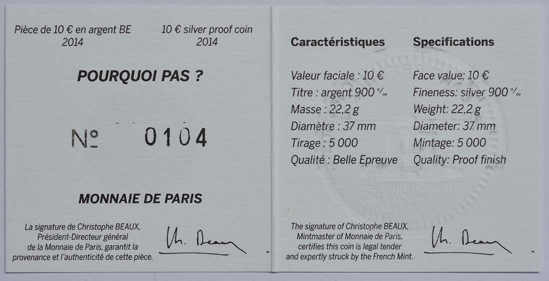 Zertifikat:Frankreich : 10 Euro Pourquoi Pas  2014 PP