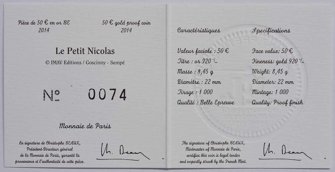 Zertifikat:Frankreich : 50 Euro Le Petit Nicolas  2014 PP