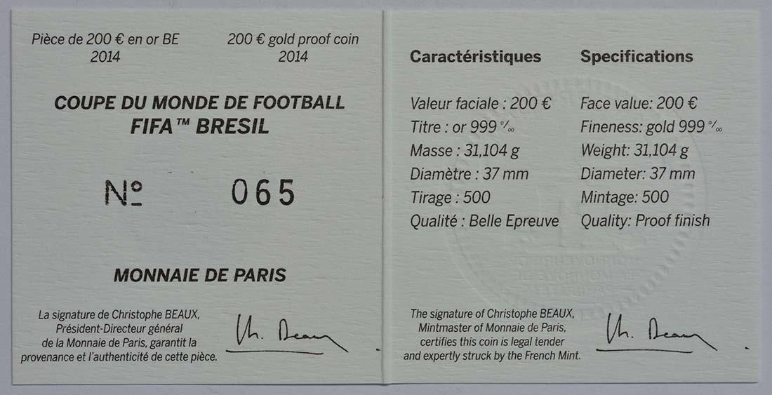 Zertifikat:Frankreich : 200 Euro Fußball WM  2014 PP