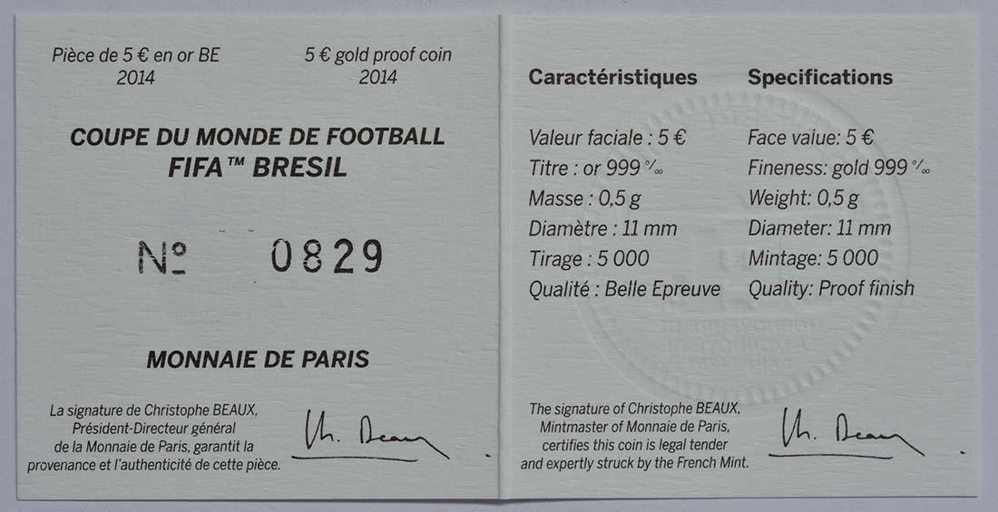 Zertifikat:Frankreich : 5 Euro Fußball WM  2014 PP