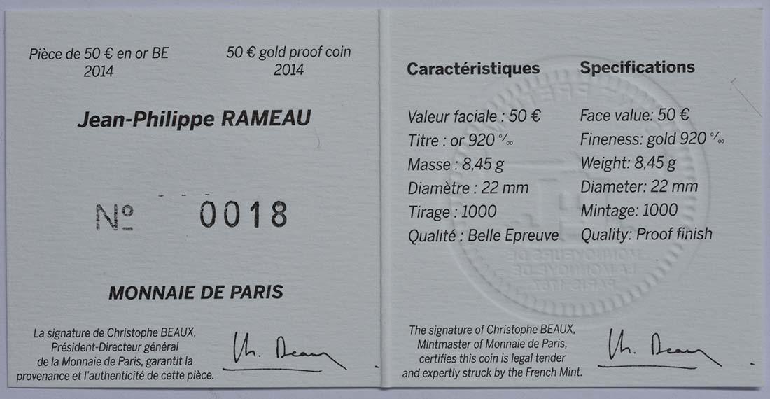 Zertifikat:Frankreich : 50 Euro Jean Baptiste Rameau  2014 PP